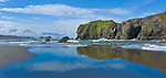 Low tide among the majestic rocks along the Bandon shoreline.