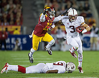 LOS ANGELES, CA - November 16, 2013:  Stanford Cardinal wide receiver Michael Rector (3) during the Stanford Cardinal vs the USC Trojans at Los Angeles Memorial Coliseum in Los Angeles, CA. Final score Stanford Cardinal 17, USC Trojans  20.