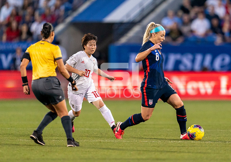 FRISCO, TX - MARCH 11: Julie Ertz #8 of the United States dribbles during a game between Japan and USWNT at Toyota Stadium on March 11, 2020 in Frisco, Texas.