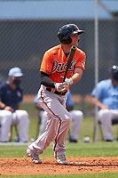 Baltimore Orioles AJ Graffanino (60) bats during a Minor League Spring Training game against the Tampa Bay Rays on April 23, 2021 at Charlotte Sports Park in Port Charlotte, Florida.  (Mike Janes/Four Seam Images)