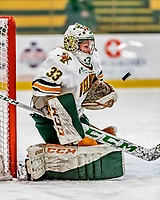 30 November 2018: University of Vermont Catamount Goaltender Melissa Black, a Senior from Newmarket, Ontario, make a first period save against the University of Maine Black Bears at Gutterson Fieldhouse in Burlington, Vermont. The Lady Cats were edged out by the Bears 2-1 in the first game of their 2-game Hockey East series. Mandatory Credit: Ed Wolfstein Photo *** RAW (NEF) Image File Available ***