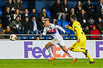 Mariano Diaz (L) of Olympique Lyon competes for the ball with Alvaro Gonzalez Soberon of Villarreal CF during the UEFA Europa League 2017-18 Round of 32 (2nd leg) match between Villarreal CF and Olympique Lyon at Estadio de la Ceramica on February 22 2018 in Villarreal, Spain. Photo by Maria Jose Segovia Carmona / Power Sport Images