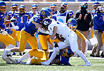 BROOKINGS, SD - APRIL 24: Holy Cross Crusaders running back Peter Oliver #24 is brought down by a host of defenders from the South Dakota State Jackrabbits at Dana J Dykhouse Stadium on April 24, 2021 in Brookings, South Dakota. (Photo by Dave Eggen/Inertia)