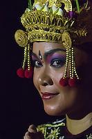 Bali, Indonesia.  Female Dancer at the Uluwatu Temple Kecak and Fire Dance.