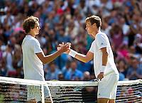 London, England, 3 July, 2016, Tennis, Wimbledon, Tomas Berdych (CZE) recieves congratulations from Alexander Zverev (GER) (L)<br /> Photo: Henk Koster/tennisimages.com