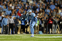 CHAPEL HILL, NC - NOVEMBER 02: Myles Dorn #1 of the University of North Carolina waits for the snap during a game between University of Virginia and University of North Carolina at Kenan Memorial Stadium on November 02, 2019 in Chapel Hill, North Carolina.