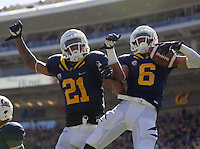 Chris Harper of California celebrates with Keenan Allen of California after Harper scored a touchdown during the game against Nevada at Memorial Stadium in Berkeley, California on September 1st, 2012.  Nevada Wolf Pack defeated California, 31-24.
