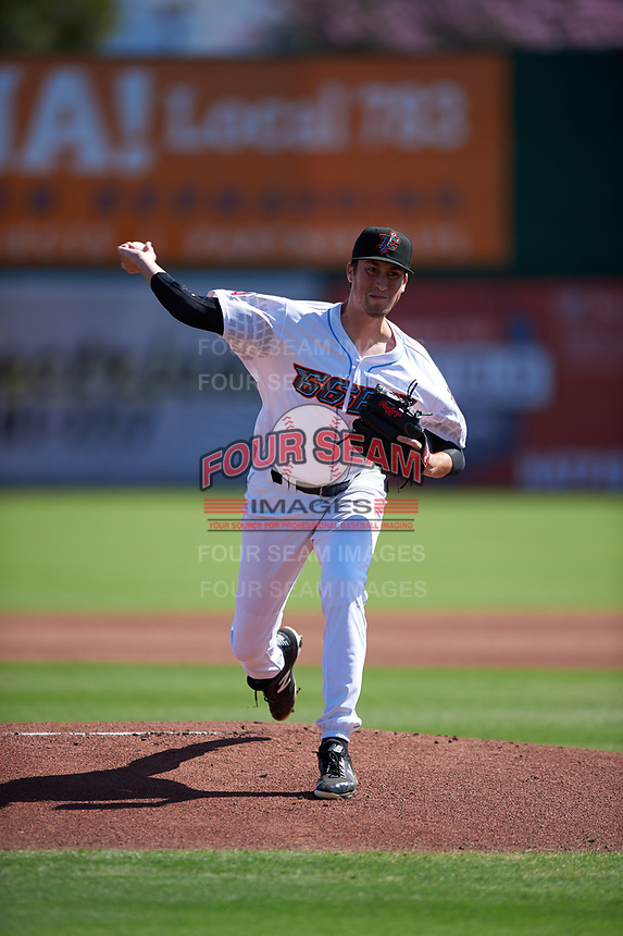 Inland Empire 66ers starting pitcher Cooper Criswell (41) during a California League game against the Modesto Nuts on April 10, 2019 at San Manuel Stadium in San Bernardino, California. Inland Empire defeated Modesto 5-4 in 13 innings. (Zachary Lucy/Four Seam Images)