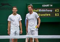 London, England, 3 July, 2016, Tennis, Wimbledon, Men's doubles Wesley Koolhof (NED) and partner Matwe Middelkoop (NED) (R)<br /> Photo: Henk Koster/tennisimages.com