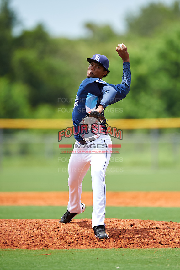 GCL Rays relief pitcher Angel Felipe (30) delivers a pitch during the first game of a doubleheader against the GCL Twins on July 18, 2017 at Charlotte Sports Park in Port Charlotte, Florida.  GCL Twins defeated the GCL Rays 11-5 in a continuation of a game that was suspended on July 17th at CenturyLink Sports Complex in Fort Myers, Florida due to inclement weather.  (Mike Janes/Four Seam Images)