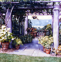 A wonderful view of the Hudson from the pergola at Wave Hill. Ambience is created by the potted plants.<br />