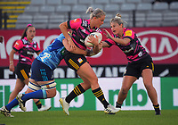 Chiefs' Chelsea Alley is tackled during the Super Rugby Women match between the Blues and Chiefs at Eden Park in Auckland, New Zealand on Saturday, 1 May 2021. Photo: Dave Lintott / lintottphoto.co.nz