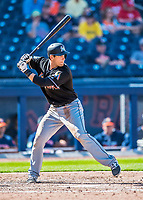 1 March 2017: Miami Marlins catcher Austin Nola in Spring Training action against the Houston Astros at the Ballpark of the Palm Beaches in West Palm Beach, Florida. The Marlins defeated the Astros 9-5 in Grapefruit League play. Mandatory Credit: Ed Wolfstein Photo *** RAW (NEF) Image File Available ***