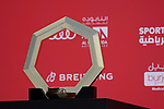 The trophy on display at sign on before the start of Stage 6 of the 2021 UAE Tour running 165km from Deira Island to Palm Jumeirah, Dubai, UAE. 26th February 2021.  <br /> Picture: Eoin Clarke   Cyclefile<br /> <br /> All photos usage must carry mandatory copyright credit (© Cyclefile   Eoin Clarke)