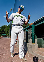 20 June 2021: Vermont Lake Monsters pitcher Samuel Conte, from Boston, MA, clowns around at the dugout prior to a game against the Westfield Starfires at Centennial Field in Burlington, Vermont. The Lake Monsters fell to the Starfires 10-2 at Centennial Field, in Burlington, Vermont. Mandatory Credit: Ed Wolfstein Photo *** RAW (NEF) Image File Available ***