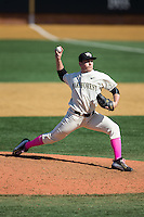Wake Forest Demon Deacons relief pitcher Garrett Kelly (28) delivers a pitch to the plate against the Virginia Tech Hokies at Wake Forest Baseball Park on March 7, 2015 in Winston-Salem, North Carolina.  The Hokies defeated the Demon Deacons 12-7 in game one of a double-header.   (Brian Westerholt/Four Seam Images)