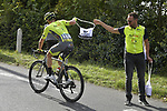 Kenny Molly (BEL) Wallonie Bruxelles grabs a musette during the 113th edition of Paris-Tours 2019, running 217km from Chartres to Tours, France. 13th October 2019.<br /> Picture: ASO/Bruno Bade | Cyclefile<br /> All photos usage must carry mandatory copyright credit (© Cyclefile | ASO/Bruno Bade)