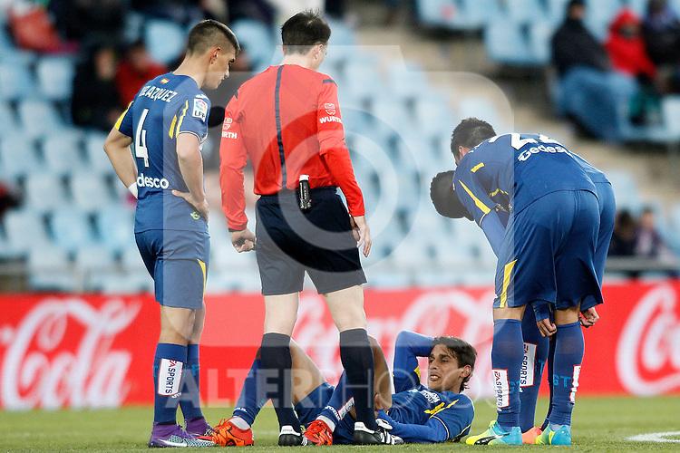 Getafe's Damian Suarez injured during La Liga match. February 27,2016. (ALTERPHOTOS/Acero)