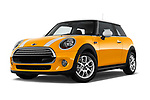 Stock pictures of low aggressive front three quarter view of 2017 MINI Cooper 3-door 3 Door Hatchback Low Aggressive