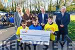 Students from CBS the Green present a cheque for €1,000 to Pieta House at the school on Friday. Kneeling front: Naiem Abdul, Conor Horan and Enda Cahill. Standing l to r: Karen Tobin, Ann O'Callaghan (Principal), Con O'Connor (Pieta House) and Fr Tadgh Fitzgerald.