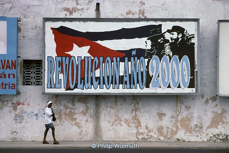 Street hoarding in Central Havana celebrating the anniversary of the 1959 revolution.