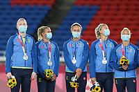 YOKOHAMA, JAPAN - AUGUST 6: Goalkeeper Hedvig Lindahl #1 of Sweden and her teammates at the silver medal ceremony at International Stadium Yokohama on August 6, 2021 in Yokohama, Japan.