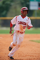 Canada Junior National Team Elijha Hammill (20) running the bases during an exhibition game against the Philadelphia Phillies on March 11, 2020 at Baseball City in St. Petersburg, Florida.  (Mike Janes/Four Seam Images)