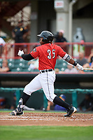 Erie SeaWolves left fielder Christin Stewart (35) follows through on a swing during a game against the Hartford Yard Goats on August 6, 2017 at UPMC Park in Erie, Pennsylvania.  Erie defeated Hartford 9-5.  (Mike Janes/Four Seam Images)