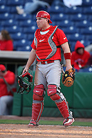 February 27, 2010:  Catcher Dan Burkhart of the Ohio State Buckeyes during the Big East/Big 10 Challenge at Bright House Field in Clearwater, FL.  Photo By Mike Janes/Four Seam Images