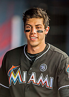 1 March 2017: Miami Marlins outfielder Christian Yelich walks the dugout prior to facing the Houston Astros at the Ballpark of the Palm Beaches in West Palm Beach, Florida. The Marlins defeated the Astros 9-5 in Spring Training, Grapefruit League play. Mandatory Credit: Ed Wolfstein Photo *** RAW (NEF) Image File Available ***