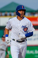 Iowa Cubs outfielder Jacob Hannemann (7) jogs back to the dugout during a Pacific Coast League game against the Colorado Springs Sky Sox on June 22, 2018 at Principal Park in Des Moines, Iowa. Iowa defeated Colorado Springs 4-3. (Brad Krause/Four Seam Images)