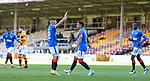 27.09.2020 Motherwell v Rangers:  James Tavernier scores from the penalty spot and celebrates with Jordan Jones