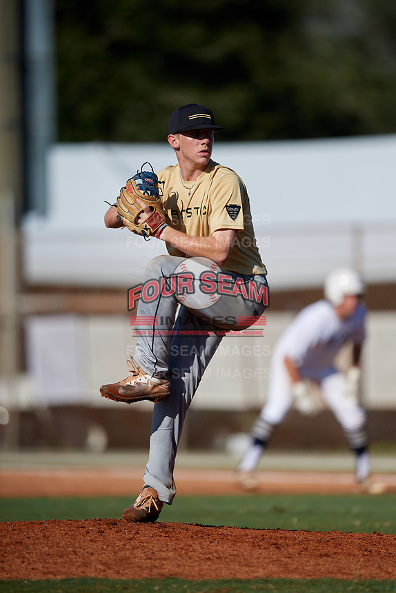 Carmine Lane during the WWBA World Championship at the Roger Dean Complex on October 19, 2018 in Jupiter, Florida.  Carmine Lane is a third baseman / right handed pitcher from Lake Worth, Florida who attends American Heritage High School and is committed to South Florida.  (Mike Janes/Four Seam Images)
