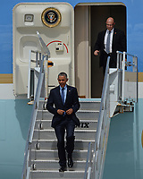 MIAMI BEACH, FL - MAY 27: US President Barack Obama walks off Air Force One at Miami International Airport prior to attending  two DNC fundraiser's in Coconut Grove on May 27, 2015 in Miami, Florida.<br /> <br /> <br /> People:  US President Barack Obama