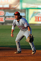 Greeneville Reds first baseman Rylan Thomas (37) in the field during a game against the Burlington Royals at the Burlington Athletic Complex on July 7, 2018 in Burlington, North Carolina.  Burlington defeated Greeneville 2-1. (Robert Gurganus/Four Seam Images)