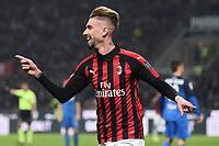 Samuel Castillejo of AC Milan celebrates after scoring third goal for his side <br /> Milano 22-02-2019 Stadio Giuseppe Meazza in an Siro Football Serie A 2018/2019 AC Milan - Empoli <br /> Foto Image Sport / Insidefoto