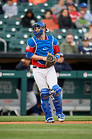 Buffalo Bisons catcher Danny Jansen (9) during a game against the Scranton/Wilkes-Barre RailRiders on May 18, 2018 at Coca-Cola Field in Buffalo, New York.  Buffalo defeated Scranton/Wilkes-Barre 5-1.  (Mike Janes/Four Seam Images)