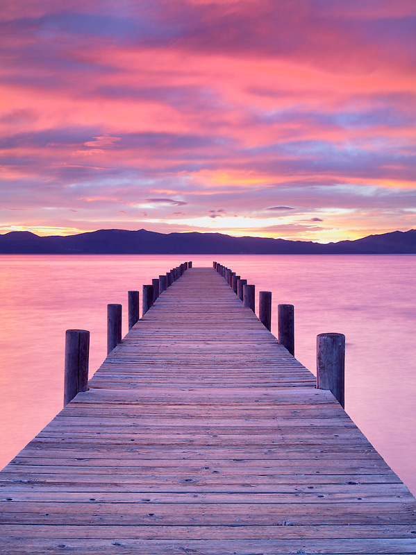 Pier and sunrise. Lake Tahoe, California