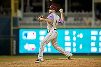 Frisco RoughRiders outfielder Preston Beck (8) pitches during a Texas League game against the Amarillo Sod Poodles on July 13, 2019 at Dr Pepper Ballpark in Frisco, Texas.  (Mike Augustin/Four Seam Images)