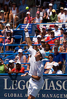 Tomas Berdych serves during the Legg Mason Tennis Classic at the William H.G. FitzGerald Tennis Center in Washington, DC.  Mardy Fish and Mark Knowles defeated Tomas Berdych and Radek Stepanek in the doubles final on Sunday afternoon.