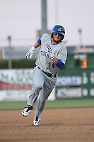 Mikey White (14) of the Stockton Ports runs the bases during a game against the Lancaster JetHawks at The Hanger on May 26, 2016 in Lancaster, California. Stockton defeated Lancaster, 16-7. (Larry Goren/Four Seam Images)