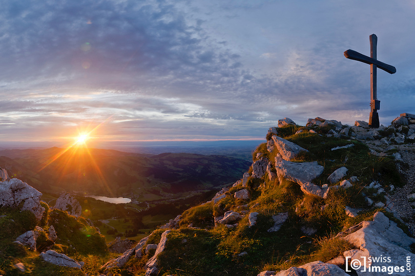 """View from Kaiseregg with """"Lac Noir"""" at sunset"""
