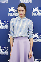 Stacy Martin attends a photocall for the movie 'Taj Mahal' during the 72nd Venice Film Festival at the Palazzo Del Cinema in Venice, Italy, September 10, 2015.<br /> UPDATE IMAGES PRESS/Stephen Richie