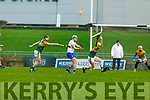 Kerry's Conor O'Keeffe about to block the effort of  Waterford's Stephen Bennett as Bryan Murphy attempts to hook him, in the Munster Senior Hurling League in Austin Stack Park on Sunday