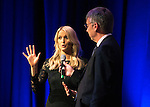 St Johnstone FC Hall of Fame Dinner, Perth Concert Hall….03.04.16<br />Sky Sports presenter and lifelong St Johnstone fan Jo Wilson talks with Gordon Bannerman on stage<br />Picture by Graeme Hart.<br />Copyright Perthshire Picture Agency<br />Tel: 01738 623350  Mobile: 07990 594431