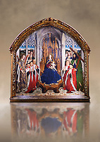 "Gothic painted Panel Virgin of the ""Consellers"" by Lluis Dalmau. Tempera and gold leaf on wood. Date 1443-1445. Dimesions 316 x 312.5 x 32.5 cm. From the altar of the chapel of Barcelona City Hall. <br /> The prestige attached to Burgundian courtly culture and the painter Jan van Eyck explain why in 1431 King Alfons the Magnanimous sent his official painter, the Valencian Lluís Dalmau, to Flanders, to learn the new realist language at first hand. In 1443, Dalmau was commissioned to paint this altarpiece for the chapel of the City Hall. This work was a breakthrough in Catalonia on account of the format, the technique used, as it was painted in oil, and the skilful illusionism of a figurative space in which that year's five councillors, painted from life, are represented on the same scale as the Virgin and the Saints. National Museum of Catalan Art, Barcelona, Spain, inv no: 015938-000"