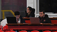 Blackpool media staff hard at work<br /> <br /> Photographer Dave Howarth/CameraSport<br /> <br /> EFL Trophy Northern Section Group G - Accrington Stanley v Blackpool - Tuesday 6th October 2020 - Crown Ground - Accrington<br />  <br /> World Copyright © 2020 CameraSport. All rights reserved. 43 Linden Ave. Countesthorpe. Leicester. England. LE8 5PG - Tel: +44 (0) 116 277 4147 - admin@camerasport.com - www.camerasport.com