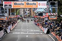 World Champion Julian Alaphillippe (FRA/Deceuninck -Quick Step), Primoz Roglic (SVN/ Jumbo Visma), Marc Hirschi (SUI/Sunweb), Tadej Pogačar (SVN/UAE-Emirates) & Matej Mohoric (SVN/Bahrain-McLaren) sprinting for the victory...<br /> <br /> 106TH Liège-Bastogne-Liège 2020 (1.UWT)<br /> 1 Day Race Liège-Liège 257km