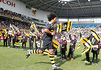Photo: Richard Lane/Richard Lane Photography. Wasps v Leicester Tigers. Aviva Premiership. 12/03/2016. Wasps' Ashley Johnson runs out for his 100th appearance.