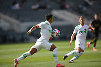 LOS ANGELES, CA - APRIL 17: Nick Lima #24 of Austin FC traps a ball during a game between Austin FC and Los Angeles FC at Banc of California Stadium on April 17, 2021 in Los Angeles, California.